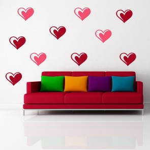 Striped Heart Wall Sticker Creative Multi Pack Wall Decal Art