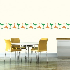 Thin Cocktail Glass Silhouette Wall Sticker Creative Multi Pack Wall Decal Art