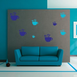 Steaming Coffee Cup Silhouette Wall Stickers Creative Multi Pack Wall Decal Art