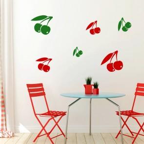 Double Cherries Silhouette Wall Stickers Creative Multi Pack Wall Decal Art