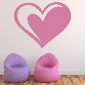 Striped Heart Wall Sticker Decorative Wall Decal Art