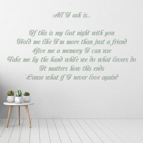Adele 25 All I Ask Song Lyrics Wall Stickers Music Home Décor Art Decals