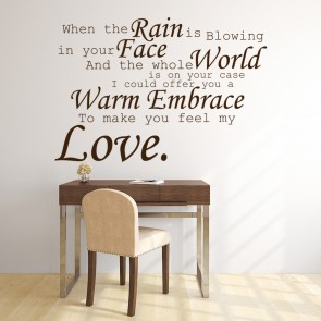 Make You Feel My Love Adele 19 Song Lyrics Wall Stickers Home Décor Art Decals