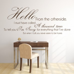 Hello From The Other Side Adele 25 Song Lyrics Wall Stickers Music Art Decals