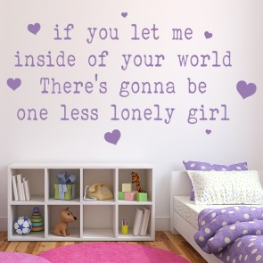 One Less Lonely Girl Justin Bieber Song Lyrics Wall Stickers Music Art Decals