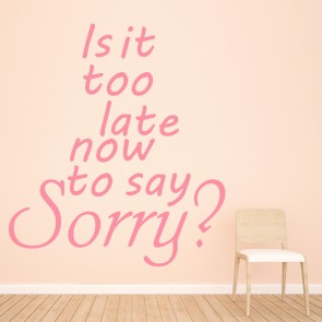 Is It Too Late To Say Sorry? Justin Bieber Song Lyrics Wall Sticker Music Decals