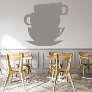 Teacup Tower Silhouette Food & Drink Wall Stickers Kitchen Décor Art Decals