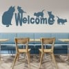 Cats Welcome Sign Feline House Cats Wall Stickers Pets Home Decor Art Decals