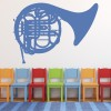 French Horn Wind Brass Band Musical Notes & Instruments Wall Sticker Music Decal