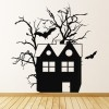 Haunted House Bats Creepy Halloween Wall Stickers Seasonal Home Decor Art Decals