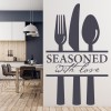 Seasoned With Love Cutlery Food Quotes & Slogans Wall Stickers Kitchen Art Decal