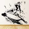 Surfing Detailed Sketch Waves Board Surfing Wall Stickers Gym Sport Art Decals