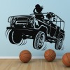Convertible Jeep Jumping Transport Wall Art Sticker Wall Decals