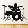 Drummer Silhouette Rock Band Musicians & Band Logos Wall Sticker Music Art Decal