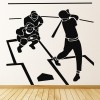 Baseball Scene Silhouette American Sports Wall Sticker Gym Home Decor Art Decals