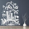 Floral City Funky Cartoon Floral Design Wall Stickers Home Decor Art Decals