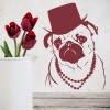 Pug in Top Hat And Pearls Funny Canine Dogs Wall Stickers Home Decor Art Decals