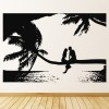 Sea View Silhouette Palm Trees At The Beach Wall Sticker Bathroom Home Art Decal