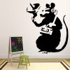 Rat Listening Banksy Graffiti Street Art Wall Sticker Home Decor Art Decals