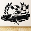 Winning Race Car And Flag Car Van Motorbike Wall Stickers Transport Art Decals