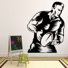Rugby Player Running Throwing Scrum Rugby Wall Sticker Gym Sport Decor Art Decal