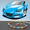 Blue Sports Car Digital Wall Sticker