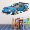 Race Car Blue Digital Wall Art Wall Sticker