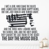American Pie Don McLean Song Lyrics Wall Stickers Music Décor Art Decals