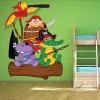 Pirate Animals on a log Fun Pirate Colour Wall Sticker Kids Art Decals Decor