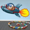 Rocket, Space ship & Astronaut Space Colour Wall Sticker Kids Art Decals Decor