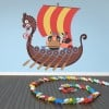 Vikings & Ship Cartoon Pirate Colour Wall Sticker kids Art Decals Decor