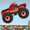 Red Monster Truck Fun Kids Colour Wall Sticker Transport Art Decals Decor