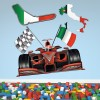 Formula 1 Italy Race Car & Flags Sports Colour Wall Sticker Transport Art Decal