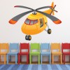Yellow Helicopter Cartoon Transport Colour Wall Sticker Kids Art Decals Decor