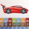 Red Race Car Cartoon Kids Colour Wall Sticker Transport Art Decals Decor