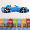 Blue Sports Car Cartoon Kids Colour Wall Sticker Transport Art Decals Decor