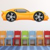 Yellow Sports Car Cartoon Kids Colour Wall Sticker Transport Art Decals Decor