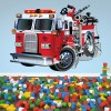 Red Fire Engine Cartoon Kids Colour Wall Sticker Transport Art Decals Decor