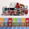 Cartoon Fire Truck Fire Engine Kids Colour Wall Sticker Transport Art Decals