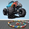 Blue & Red Monster Truck Kids Colour Wall Stickers Transport Art Decals Decor