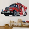 Red Fire Truck Fire Engine Kids Colour Wall Stickers Transport Art Decals Decor