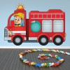 Cartoon Red Fire Truck Kids Colour Wall Stickers Transport Art Decals Decor