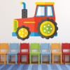 Red, Yellow Tractor Cartoon Kids Colour Wall Stickers Transport Art Decal Decor