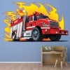 Fire Engine & Flames Cartoon Kids Colour Wall Stickers Transport Art Decal