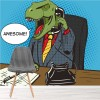 Awesome! Dinosaur Businessman In Office Kids Wall Mural Comic Photo Wallpaper