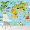 Animal World Map Educational Travel Wall Mural Kids Caroons Photo Wallpaper