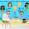 Mermaid Friends Swimming Under The Sea Wall Mural Kids Cartoon Photo Wallpaper