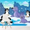 Cute Penguins & Seals Arctic Animals Cartoon Wall Mural Kids Photo Wallpaper