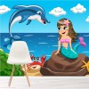Mermaid, Dolphin & Crab Under The Sea Cartoon Wall Mural kids Photo Wallpaper