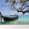 Long Boat & Tropical Island Thailand Ocean Wall Mural Beach Photo Wallpaper